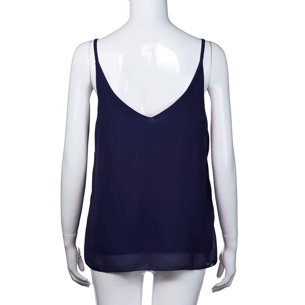 iLUGU Women V Neck Tank Top Sleeveless Chiffon Cami Shirt Vest Blouse Us Polo Dark Blue by iLUGU (Image #3)