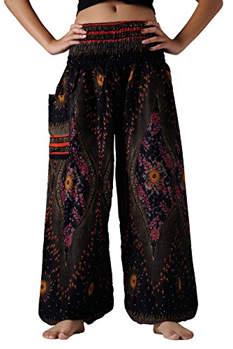 Bangkokpants Plus Size Harem Pants Boho Clothing Hippie Peacock Size US 14-22 (Black) -