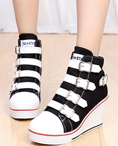 Wedges Canvas Shoes Women, Casual Platform Sneakers plimsolls Hasp 4 Colors Black
