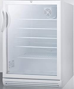 Summit Appliance SCR600GLBIADA Commercially Listed ADA Compliant Built-in Undercounter Beverage Center with Glass Door, Auto Defrost, Adjustable Thermostat, Internal Fan, Lock and White Cabinet
