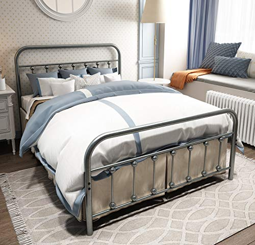 TEMMER Metal Bed Frame Full Size with Headboard and Footboard Single Platform Mattress Base,Metal Tube and Iron-Art Bed Gray Silver(Full, Gray Silver) (Metal Art Frame)