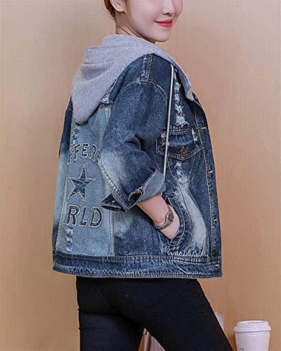 Digitale Jacket Con Aspicture Giovane Star Giaccone Cute Stampato Cappuccio Cappotto Jeans Primaverile Donna Elegante Moda Blu Chic Giacca Autunno 8q46U5nw