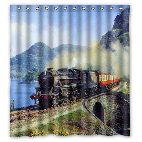 Amazon.com: Welcome!Waterproof Decorative Steam Train Shower Curtain ...