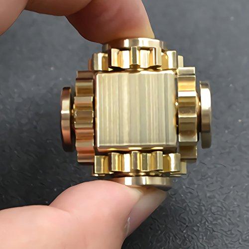 Wewinn Pure Brass Fidget Cube Gears Linkage Fidget Toy Metal DIY EDC Focus Meditation Break Bad Habits ADHD (Brass) by Wewinn (Image #2)