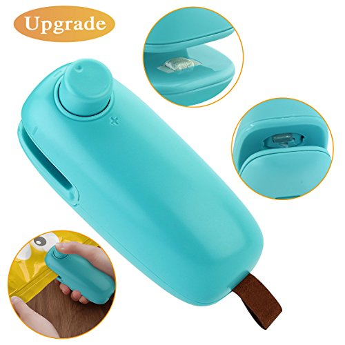 [2018 Upgrade] Mini Bag Sealer, 2 in 1 Chip Bag Heat Sealer and Cutter Hand Held Portable Chip Saver for Plastic Bags Food Storage Resealer Green (Battery Not Included)