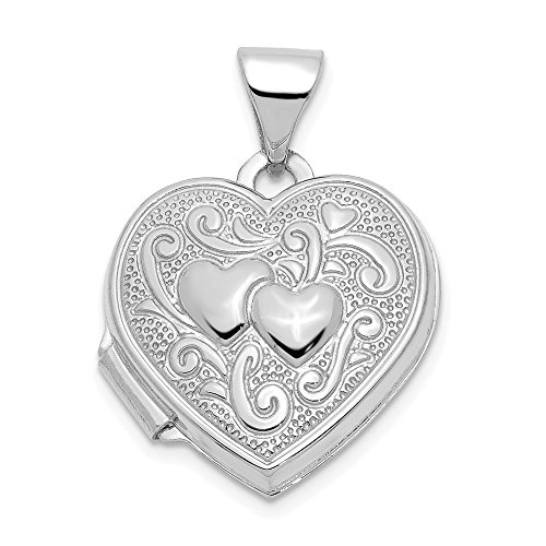 14k White Gold Heart Photo Pendant Charm Locket Chain Necklace That Holds Pictures Fine Jewelry Gifts For Women For ()