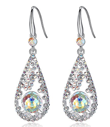 Leafael Swarovski Elements Austrian Crystal Filigree White Opal Color Rondelle Earrings