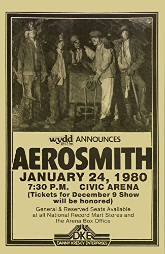 (Aerosmith Right in the Nuts Tour 1980 Retro Art Print - Poster Size - Print of Retro Concert Poster - Features Steven Tyler, Joe Perry, Tom Hamilton, Joey Kramer, and Brad Whitford.)