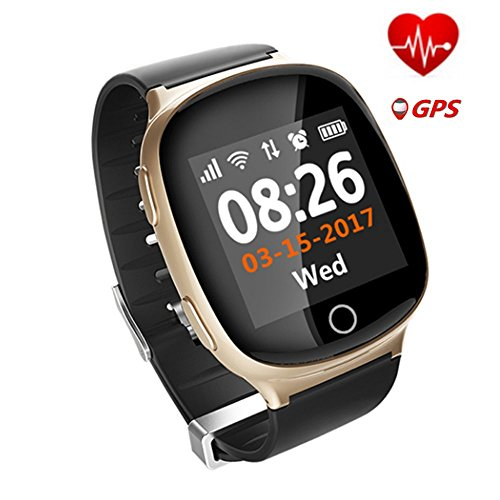 D100 Heart Rate Monitor Smart Watch Fall-down Alarm Function.Medicine Reminder, Sports Reminder,Sedentary Reminder,Health,SOS GPS LBS WIFI Tracker Watches for the Elderly for All Smartphones (Gold)