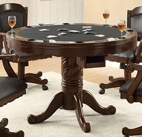 Amazon.com   3 In 1 Oak Finished Wood Poker, Pool, Game, Dining Table And 4  Chairs Set   Table U0026 Chair Sets