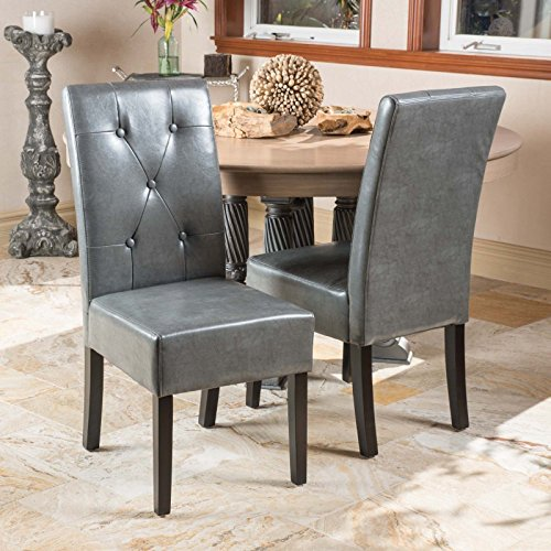 Alitop Set of 2 Elegant Marbled Grey Leather Dining Chairs w/ Buttons Tufted Accent