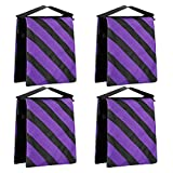Neewer 4-Pack Empty Photographic Sandbag Studio Video Stage Film Sand Bag Saddlebag - 9x10 inches/23x25 centimeters, 20 pounds Load-bearing for Light Stands, Boom Arms, Tripods (Purple/Black)
