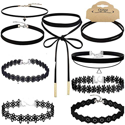(Outee 10 Pcs Choker Set Necklace Black Velvet Choker Tattoo Necklace Classical Gothic Chokers for Women Girls)