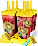yellow ice cream maker - Popsicle Molds Set - BPA Free - 6 Ice Pop Makers + Silicone Funnel + Cleaning Brush + Ice Cream Recipes E-book - by Lebice