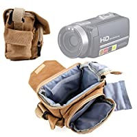 Light Brown Medium Sized Canvas Carry Bag With Multiple Pockets & Customizable Interior for PowerLead Puto PLD003 Mini Camcorder - by DURAGADGET_US