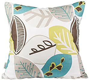 B Lyster shop Blue yellow brown Gray white Leaves J227 Cotton & Polyester Soft Zippered Cushion Throw Case Pillow Case Cover