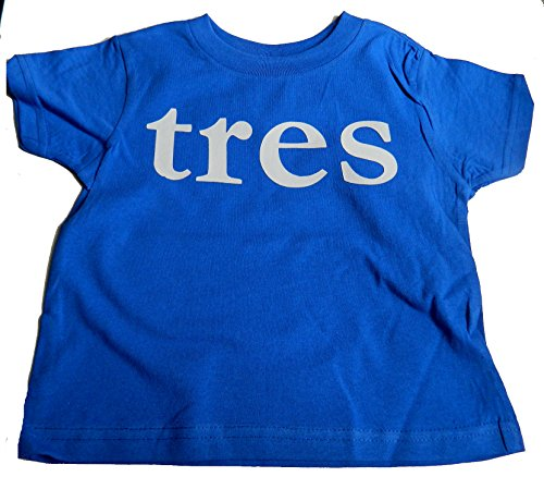 "Custom Kingdom Baby Boys' ""Tres"" Third Birthday T-shirt Blue"