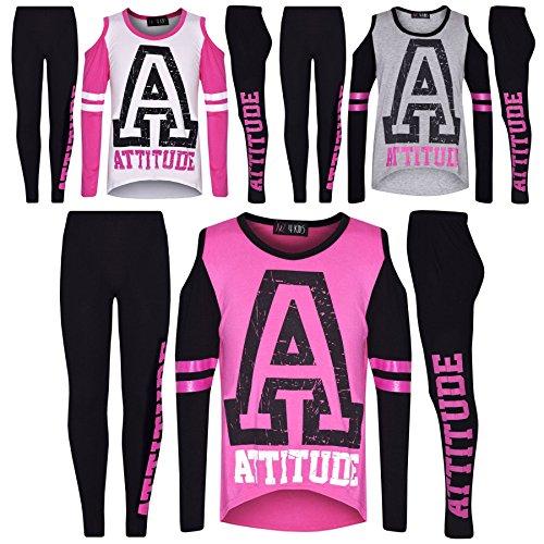 Girls Top Kids Attitude Print Trendy Top & Fashion Legging Set Age 7-13 Years