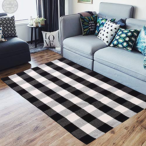 ABSLIMUS Black White Plaid Porch Rugs/Door Mat, Pure Cotton Threads Together in Crisscross, Hand Weaving Checkered Carpet Kitchen/Entry Way/Bedroom/Bathroom/Sofa/Laundry Room, ()