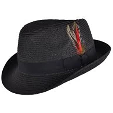 bf049760bc55c Mens Summer Straw Hat with Removable Feather - Trilby - Navy