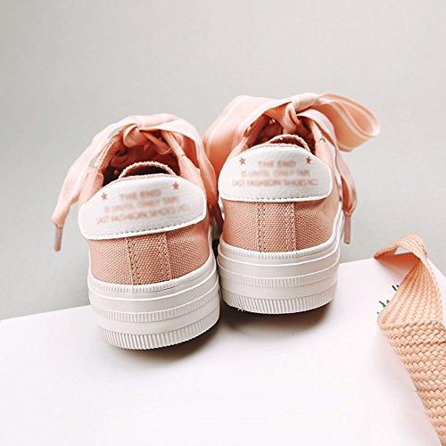 FEIFEI Zapatos de mujer suave lona + Slip resistente al desgaste Parte inferior Verano nuevo sabor sabor versión coreana retro estudiante Street Beat zapatos de lona tres colores para elegir ( Color : Pink