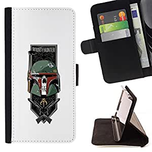 DEVIL CASE - FOR Apple Iphone 6 - Cool Bounty Hunter Western Trophy - Style PU Leather Case Wallet Flip Stand Flap Closure Cover