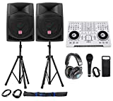 "Full DJ System Package: Controller+Active 12"" Speakers+Headphones+Mic+Stands"