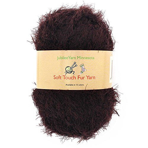 Crochet Fuzzy - JubileeYarn 100g Soft Touch Fuzzy Fur Yarn, Brown 2 Skeins