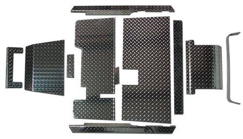 EZGO TXT Golf Cart Diamond Plate Accessories Kit W/Floor - Shiny Aluminum ()