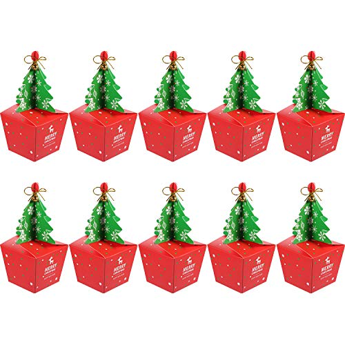 Jovitec 10 Pieces 3D Christmas Paper Box Treat Gifts Boxes Fruit Sweets Carrier Bags for Christmas Favors]()