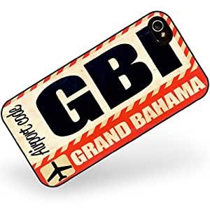 Rubber Case for iphone 4 4s Airportcode GBI Grand Bahama - Neonblond