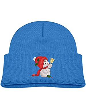 Kids Knitted Beanies Hat Cute Snowman Winter Hat Knitted Skull Cap for Boys Girls Blue
