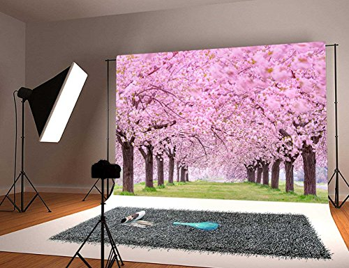 GYA Cherry blossoms Street Studio Photography Backdrop Beautiful Flower Background Photo for Wedding Vinyl 7x5ft