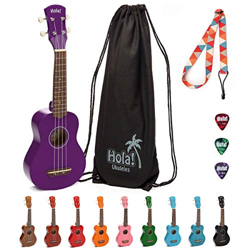 Hola! Music HM-21PP Soprano Ukulele Bundle with Canvas Tote Bag, Strap and Picks, Color Series - Purple ()