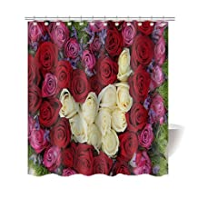 "Gwein Beautiful Bouquet Thank You Heart Bath Home Decor of Waterproof Bathroom Polyester Fabric Mildew Resistant Shower Curtain 66""(w)x72"" (h)Inch"