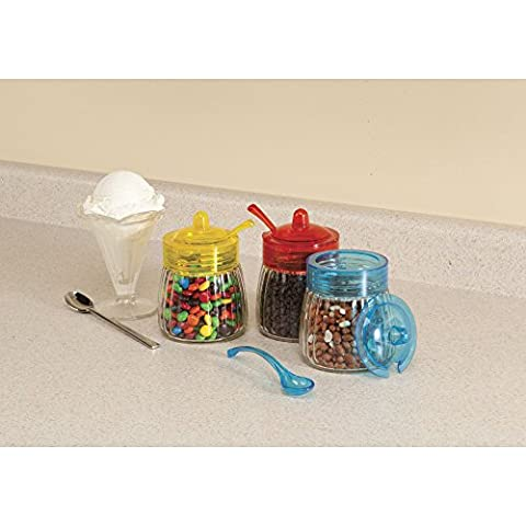 Glass Jars with Spoons, Set of 3 by Home-Style Kitchen - 14 Oz Glass Jar
