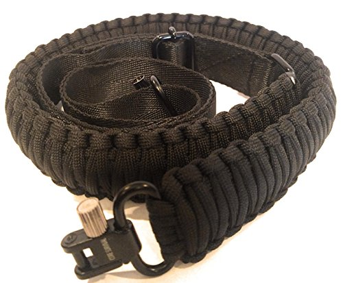 (Core Survival Paracord Gun Sling Traditional 2 Point Adjustable Strap for Outdoor Sports (Black SWIVELS, 1.5