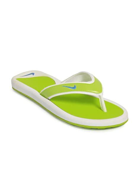 check out 7bb9a 51b8a ... italy nike womens wmns snapper thong lime green and white flip flops  clogs and mules 5.5