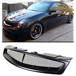 Fits for 2003-2007 Infiniti G35 2 Door Coupe V35 Primer Black JDM Front Hood Mesh Grill Grille