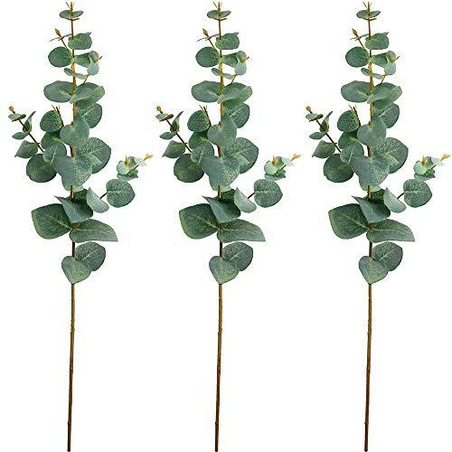 Supla 3 Pcs Faux Silver Dollar Eucalyptus Leaves Spray Baby Eucalyptus in Green 26