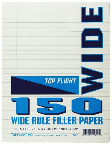 Top Flight Filler Paper, 10.5 x 8 Inches, Wide Rule, 150 Sheets (12119)