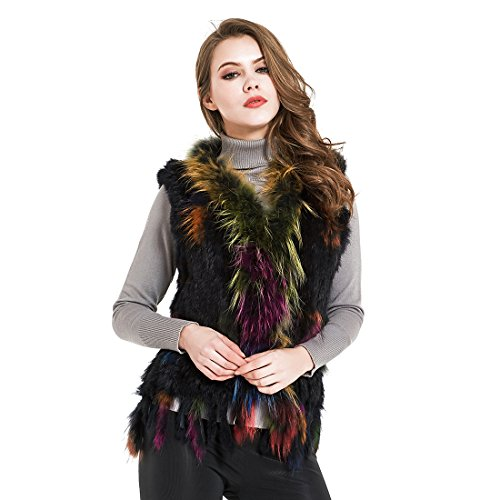 Maylian Winter colorful Real Rabbit Fur Knit Cardigan Vest For Women