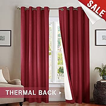 Jinchan 63 Inch Thermal Curtains For Bedroom Burgundy Energy Efficient Lined Blackout Drapes Living