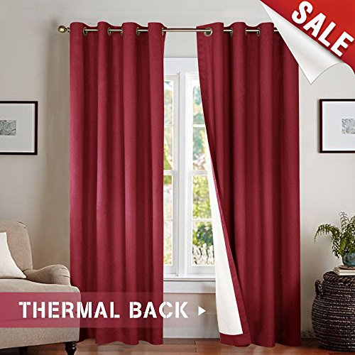 Blackout Curtains for Bedroom 84 inches Long Burgundy Thermal Insulated Grommet Window Drapes Single Panel