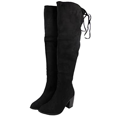 a87e3458f95 Womens Ladies Thigh High Boots Over The Knee Party Stretch Low Mid Heel  Size 8  Amazon.co.uk  Shoes   Bags