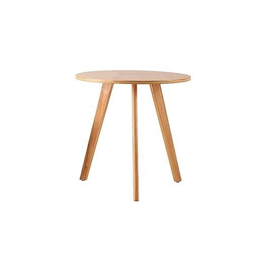 YANGFH Mesa de café nórdica de madera maciza, simple, pequeña ...