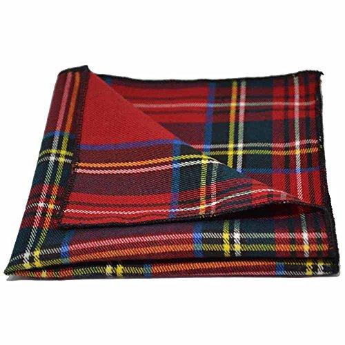 Traditional Red/Yellow Tartan Plaid Check Pocket Square, - Square Pocket Plaid