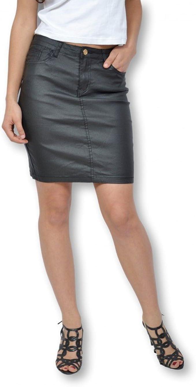Crazy Lover Falda para Mujer Efecto engrasado Negra – Falda ...