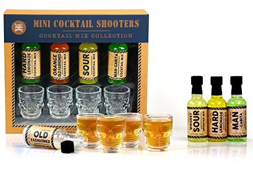 Four (4) Skull Shot Glass + Cocktail Shooter Set: Hard Lemonade, Old Fashioned, Man-garita & Whisky -