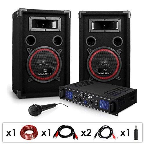 DJ PA-Set DJ-14 1600W Musik-Karaoke-Anlage PA-Verstärker SPL-500 mit 2x 200 Watt RMS Malone PA Lautsprecher-Boxen Paar (inkl. Mikrofon, Kabelset, 3 Stereo-Cinch-Eingänge) schwarz